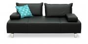 ALESSIA - Sofa 2,5 Platz in Leder schwarz