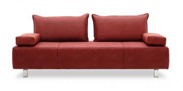 ALESSIA - Sofa 2,5 Platz in roter Mikrofaser in Nubuk Optik