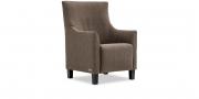 ALF - Hochlehner Sessel in braunem Stoff von English Dekor
