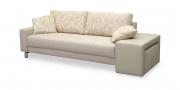AMICA - 2,5 Platz Sofa mit cremefarbenen Stoff und florales Dessin im Kissen mit Modul als Arlmehne