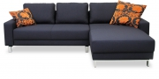 AMICA - 2 Platz Korpus mit Longchair in fein gewebtem, anthrazitfarbenem Stoff