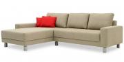 AMICA - 2 Platz Sofa mit Longchair im Stoff HF Amalfi erde