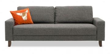 AMICA - 2,5 Platz Sofa in graumeliertem Stoff mit Zierkissen