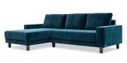AMICA - 2,5 Platz Sofa mit Longchair in Velvet Stoff dunkles petrol