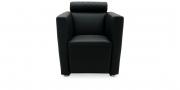 ARTHE - Sessel in schwarzem Leder