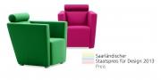 ARTHE - Sessel im Wollstoff grün und pink - Saarländischer Staatspreis Design