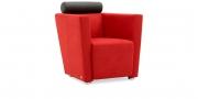 ARTHE - Sessel im Mikrofaserstoff Like Suede rot, Kopfrolle Leder schwarz