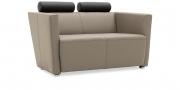 ARTHE - 2 Platz Sofa in Leder Toledo hellgrau, Kopfrolle in Leder schwarz