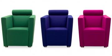 ARTHE - Sessel im Wollstoff grün, blau, pink
