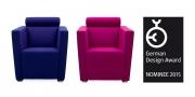 ARTHE - Sessel im Wollstoff blau und pink - German Design Award