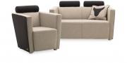 ARTHE - 2 Platz Sofa + Sessel im Wollstoff hellgrau-anthrazit