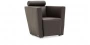 ARTHE - Sessel in Leder Jumbo marron mit Effektnaht
