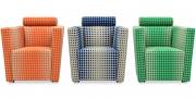ARTHE - Sessel im Stoff Romo Boost von Kirkby Design in Eden Cobalt und Pumpkin