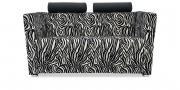 ARTHE - 2 Platz Sofa in Stoff S&V Elegant Gloria Zebra schwarz weiß