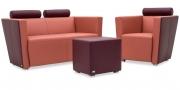 ARTHE - 2 Platz Sofa mit Sessel in Leder Kombi Eldorado Premium oxblood rust