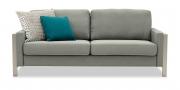 ARUBA - 2,5 Platz Sofa in grau meliertem Stoff und Dekokissen
