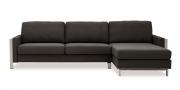 ARUBA - 2,5 Platz Sofa mit Longchair in schwarz meliertem Stoff