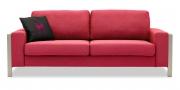 ARUBA - 2,5 Platz Sofa mit breiten Armlehnen in rot meliertem Stoff