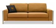 ARUBA - 2,5 Platz Sofa mit breiten Armlehnen in gelb-orange meliertem Stoff
