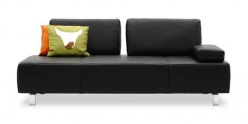 ASTOR - 2,5 Platz Sofa mit 2 verstellbaren Rücken in Leder Rustik anthrazit