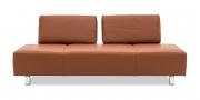 ASTOR - 2,5 Platz Sofa in Leder Rustik nougat mit Effektnaht