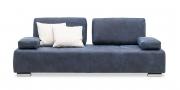 ASTOR - 2,5 Platz Sofa mit Chromrollen in Leder Pamplona blue und Dekokissen