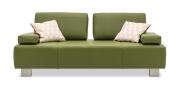 ASTOR - 2,5 Platz Sofa in Leder Bull Club Farngrün mit passenden Armlehnkissen und Dekokissen