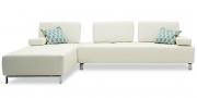 ASTOR - 2,5 Platz Sofa in Leder Jumbo polarweiß