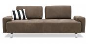 ASTOR - 2,5 Platz Sofa mit fest montierten Armlehnen in Leder Pamplona fango