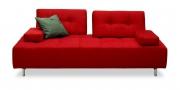 ASTORIA - 2,5 Platz Sofa mit 2 verstellbaren Rücken im Stoff knallrot