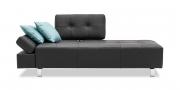 ATTICO - 2,5 Platz Sofa mit einem verstellbaren Rücken in Leder Jumbo schwarz