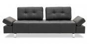 ATTICO - 2,5 Platz Sofa mit Knopfheftung in schwarzem Leder Jumbo