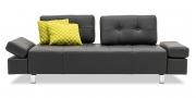 ATTICO - 2,5 Platz Sofa mit verstellbaren Rücken in schwarzem Leder Jumbo