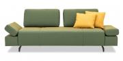 ATTICO - 2,5 Platz Sofa mit verstellbaren Rücken im grün-gelben Stoff mit passenden Dekokissen