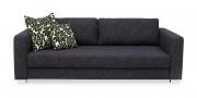 BASIC - 3 Platz Sofa in schwarz-meliertem, grobgewebtem Stoff
