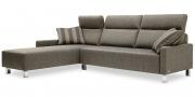 BATIDA - 2,5 Platz Sofa mit Longchair lang im Stoff Höpke Helmond braun mit Fischgrätmuster