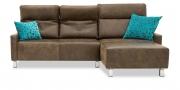 BATIDA - 2 Platz Sofa mit Longchair in Leder Saddle zulu mit Finesse Armlehnen
