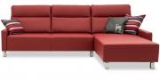 BATIDA - 2,5 Platz Sofa mit Longchair in rotem Leder Napoli mit Finesse Armlehnen