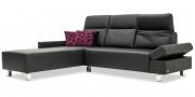 BATIDA - 2 Platz Sofa mit Longchair und Armlehne Indigo in schwarzem Leder Toledo