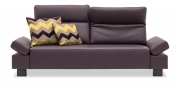 BATIDA - 2,5 Platz Sofa mit Indigo Armlehnen in Leder Napoli purpre