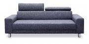 BEGUM - 2,5 Platz Sofa in grau meliertem, grobgewebten Stoff