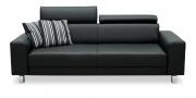 BEGUM - 2,5 Platz Sofa in Leder schwarz