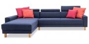 BEGUM - 2,5 Platz Sofa mit Longchair und Amica Armlehnen im Stoff HF Como nachtblau