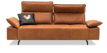 BELUGA - 2,5 Platz Sofa mit zwei vestellbaren Rücken in Leder Davos brown