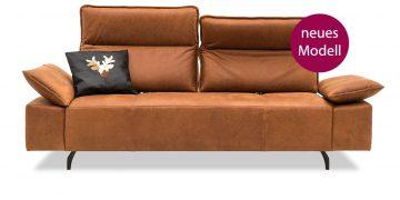 BELUGA - 2,5 Platz Sofa mit zwei vestellbaren Rücken in Leder Davos brown neues Modell