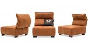 BELUGA - 1 Platz Sessel mit verstellbarem Rücken in Leder Davos brown