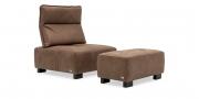 BELUGA - 1 Platz Sessel mit Hocker in braunem Leder