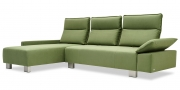 BELUGA - 2,5 Platz Sofa mit Longchair in Mikrofaserstoff S&V Like Suede grün