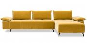 ALESSIA mit Armlehne BELUGA - 2,5 Platz Sofa mit Longchair im Stoff JAB Excellence gelb