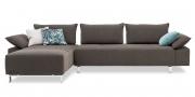 ALESSIA mit Armlehne BELUGA - 2,5 Platz Sofa mit Longchair im Stoff Sonnhaus Villena graphit